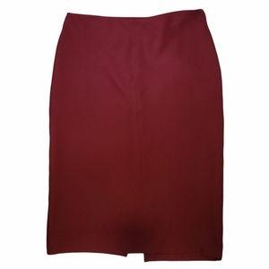 H&M Red Stretch Tube Midi Pencil Skirt Sz Medium